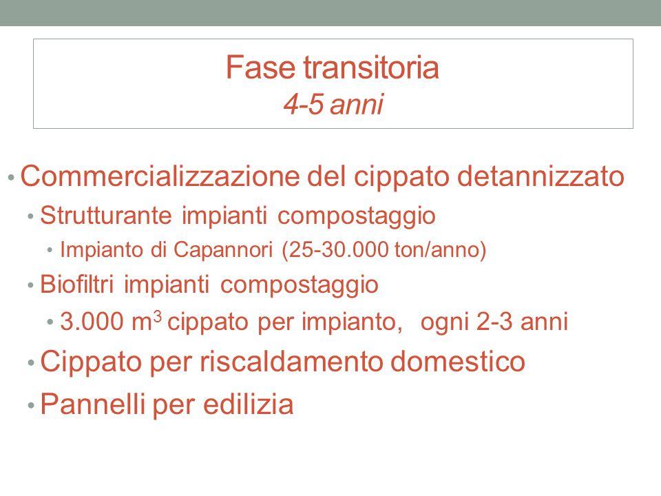 Fase transitoria 4-5 anni Commercializzazione del cippato detannizzato Strutturante impianti compostaggio Impianto di Capannori (25-30.000 ton/anno) B