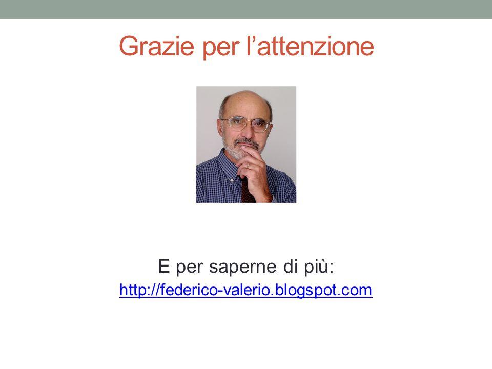 Grazie per l'attenzione E per saperne di più: http://federico-valerio.blogspot.com
