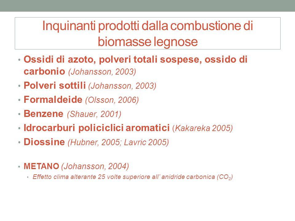 Inquinanti prodotti dalla combustione di biomasse legnose Ossidi di azoto, polveri totali sospese, ossido di carbonio (Johansson, 2003) Polveri sottil