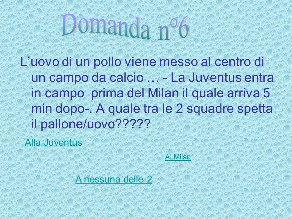 L'uovo di un pollo viene messo al centro di un campo da calcio … - La Juventus entra in campo prima del Milan il quale arriva 5 min dopo-.