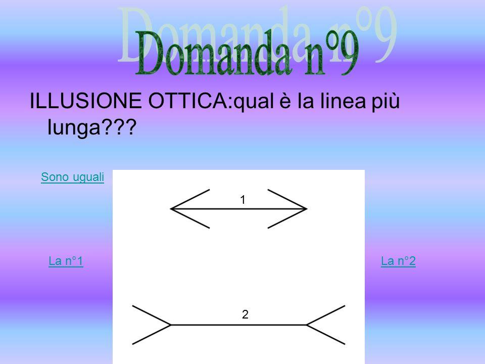 ILLUSIONE OTTICA:qual è la linea più lunga La n°1La n°2 Sono uguali 1 2