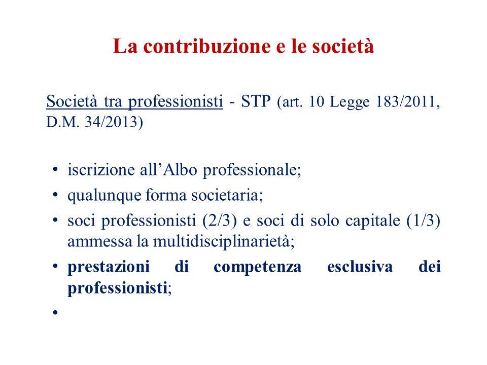 La contribuzione e le società Società tra professionisti - STP (art.