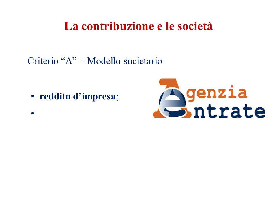 La contribuzione e le società Criterio A – Modello societario reddito d'impresa;