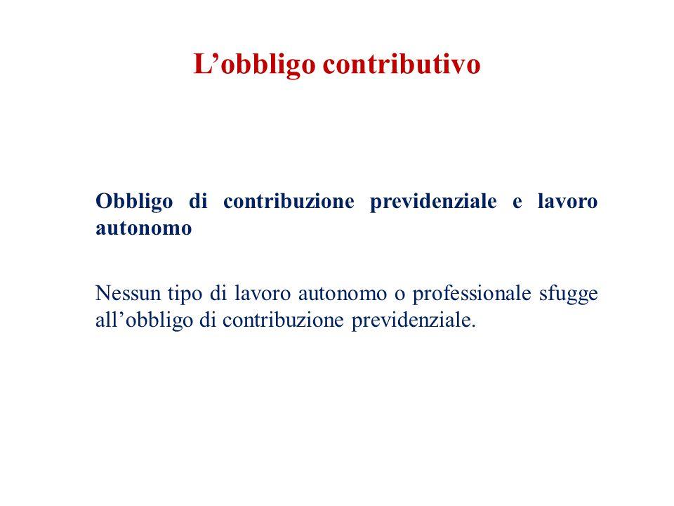 L'obbligo contributivo Obbligo di contribuzione previdenziale e lavoro autonomo Nessun tipo di lavoro autonomo o professionale sfugge all'obbligo di contribuzione previdenziale.