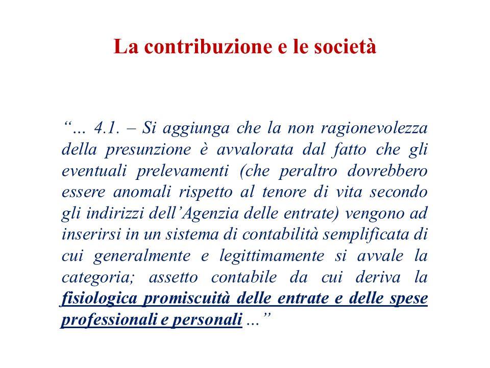 La contribuzione e le società … 4.1.