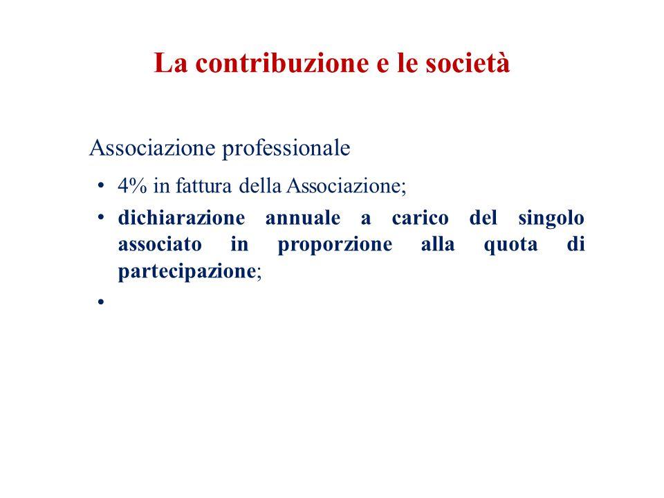 La contribuzione e le società Associazione professionale 4% in fattura della Associazione; dichiarazione annuale a carico del singolo associato in proporzione alla quota di partecipazione;