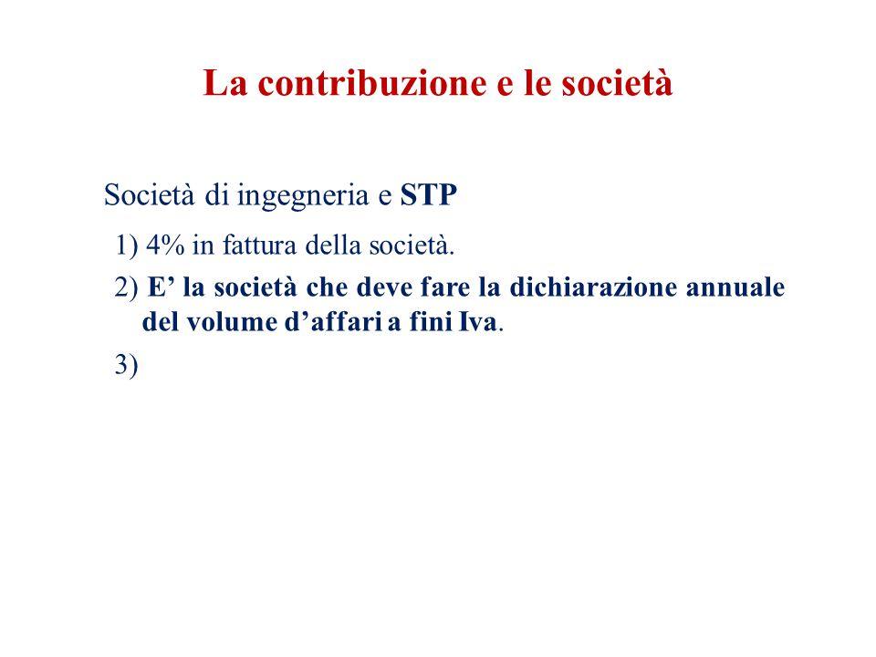 La contribuzione e le società Società di ingegneria e STP 1) 4% in fattura della società.