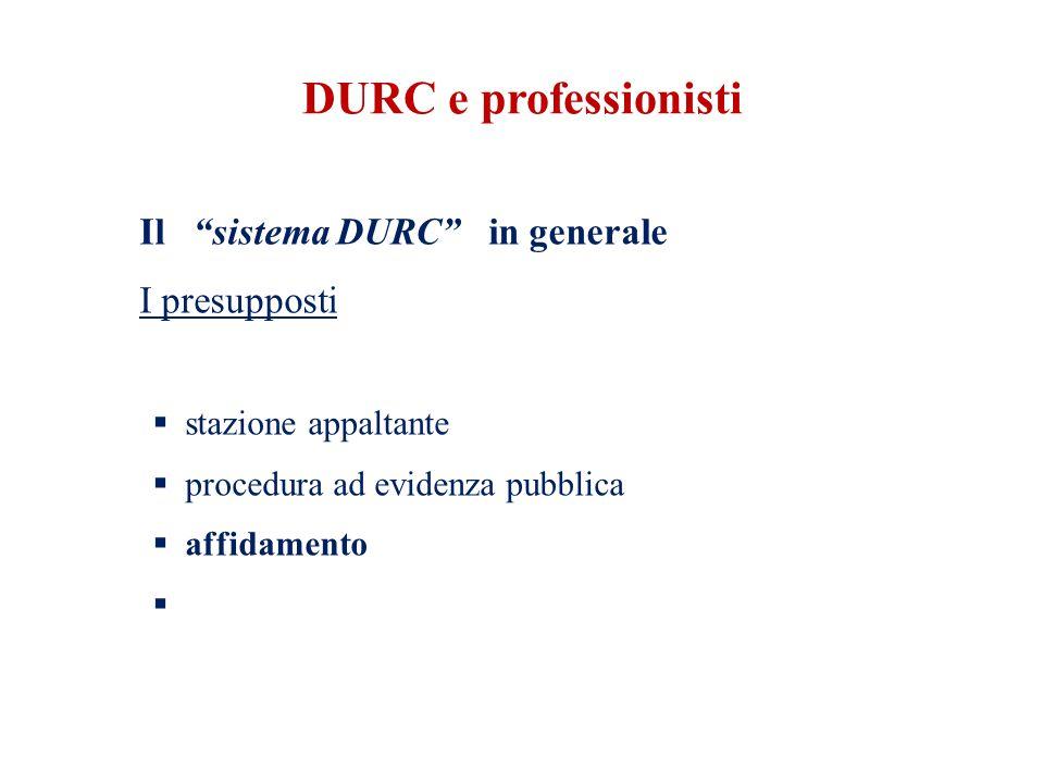 DURC e professionisti Il sistema DURC in generale I presupposti  stazione appaltante  procedura ad evidenza pubblica  affidamento 