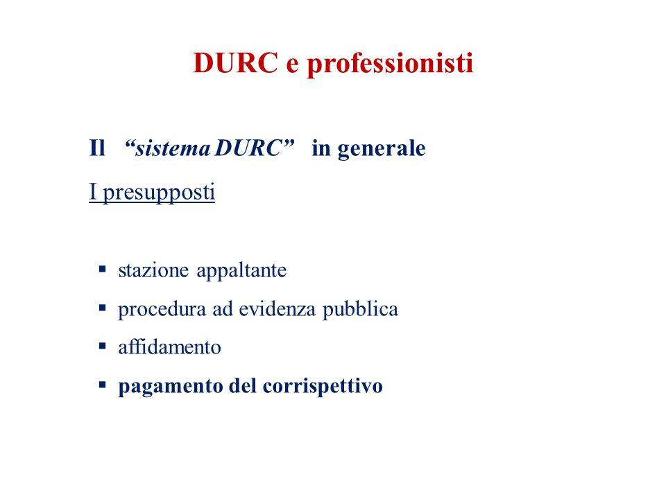 DURC e professionisti Il sistema DURC in generale I presupposti  stazione appaltante  procedura ad evidenza pubblica  affidamento  pagamento del corrispettivo