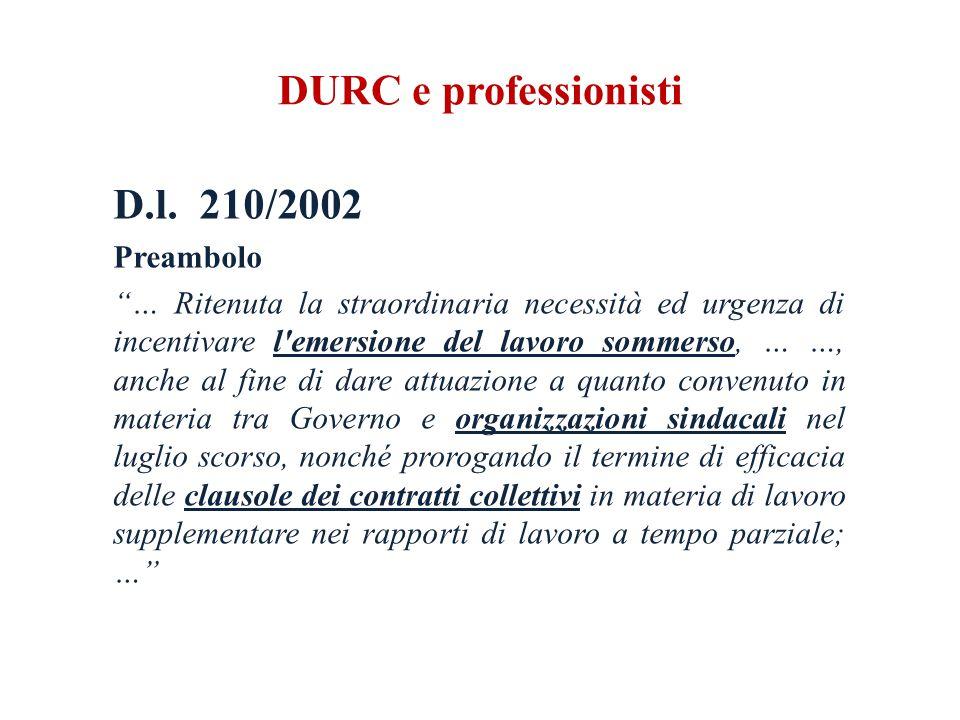 DURC e professionisti D.l.