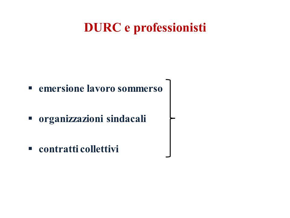 DURC e professionisti  emersione lavoro sommerso  organizzazioni sindacali  contratti collettivi
