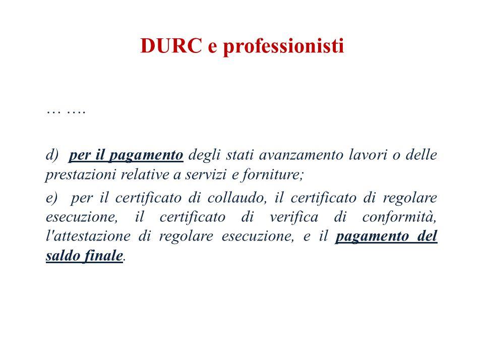 DURC e professionisti … ….