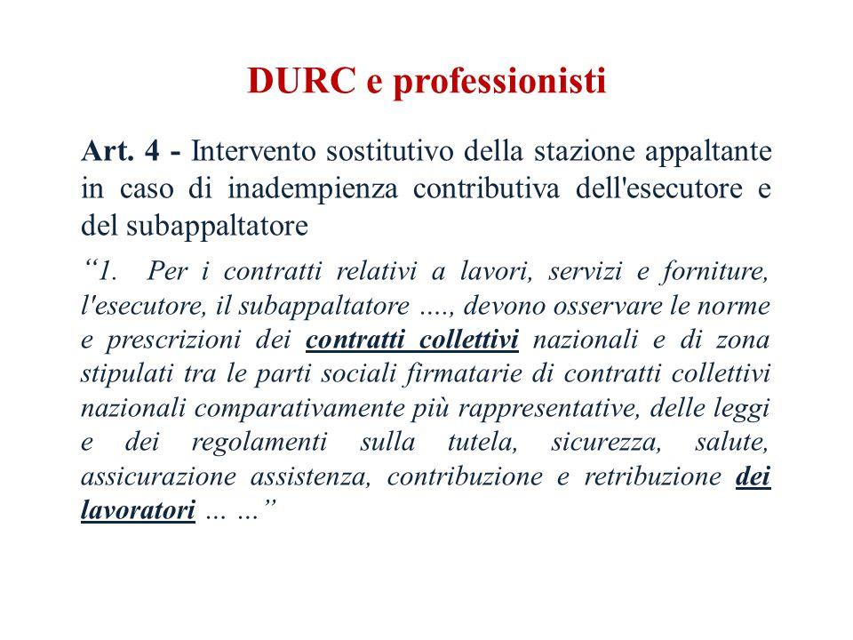 DURC e professionisti Art.