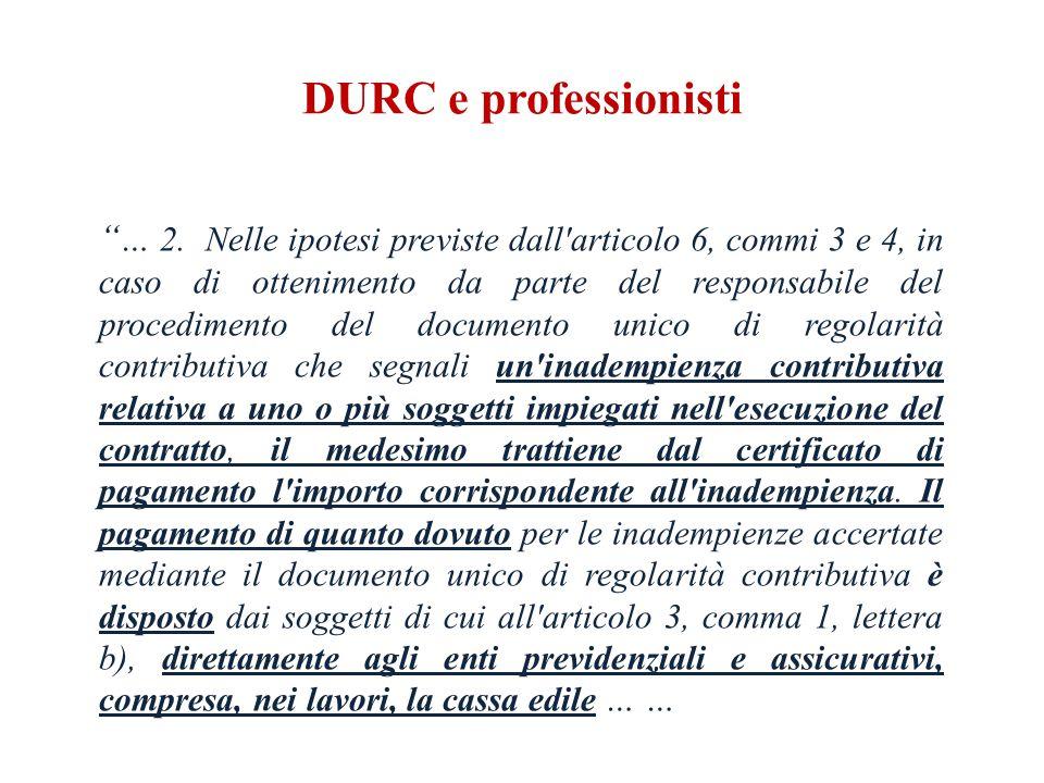 DURC e professionisti … 2.