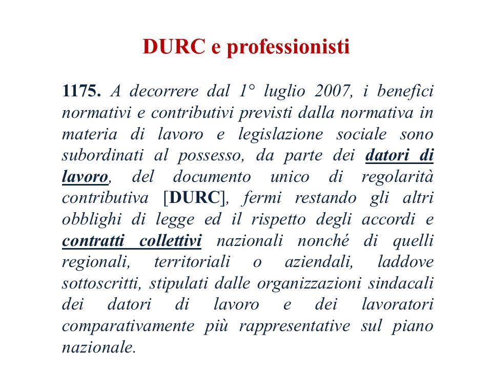 DURC e professionisti 1175.