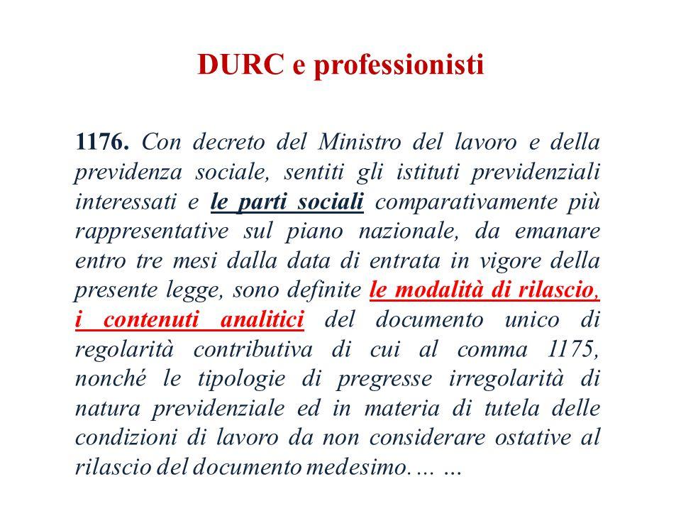 DURC e professionisti 1176.
