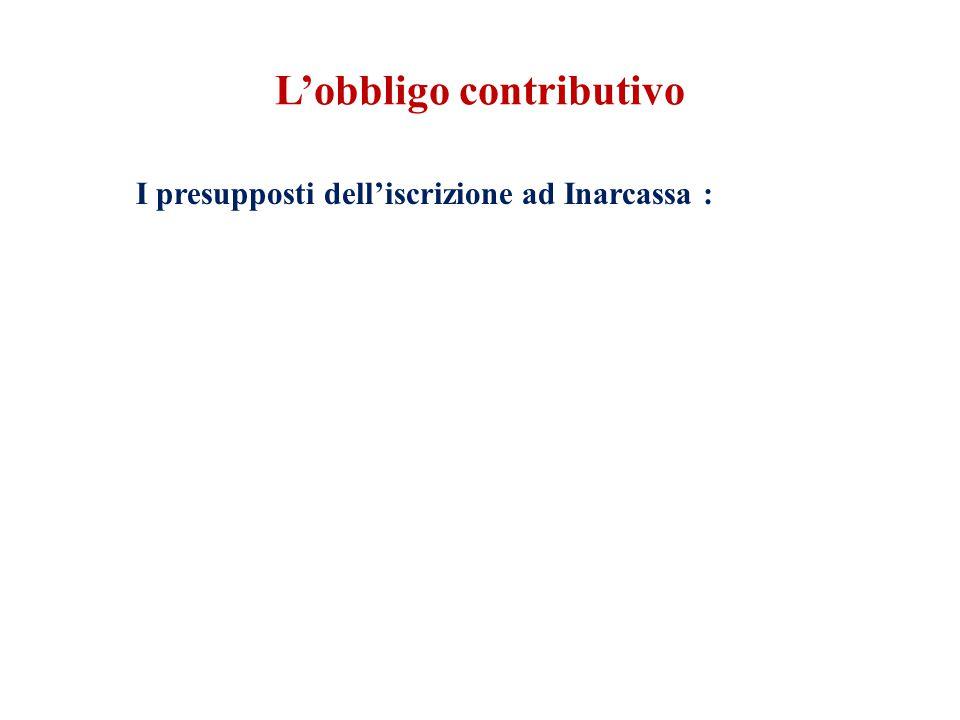 L'obbligo contributivo I presupposti dell'iscrizione ad Inarcassa :