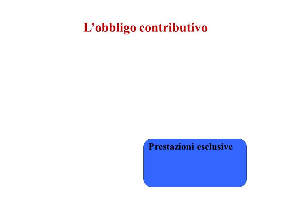 L'obbligo contributivo Prestazioni esclusive