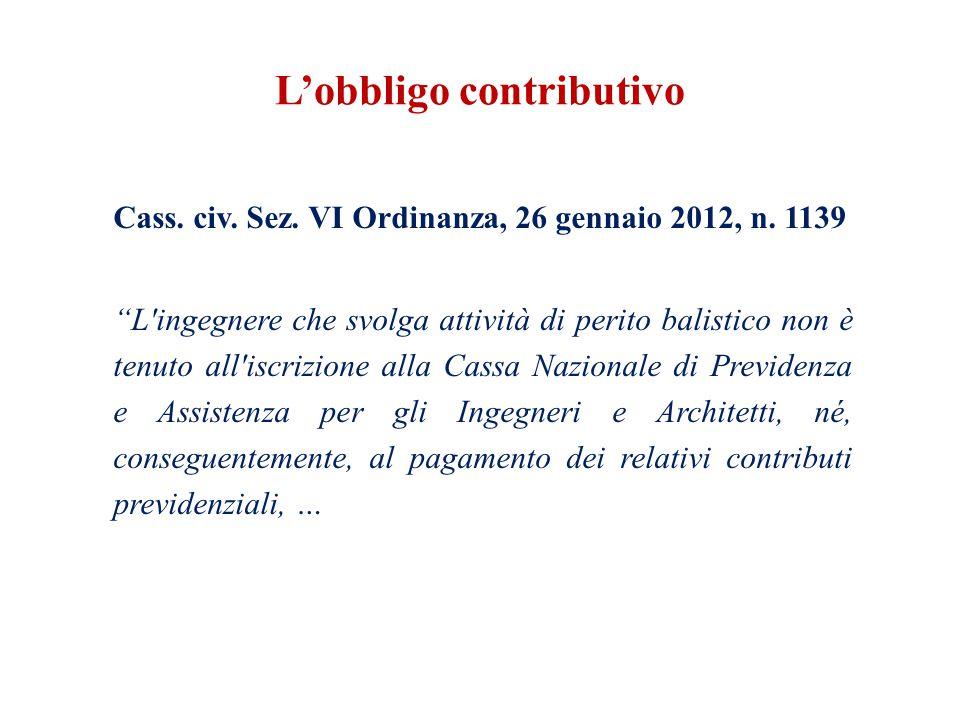 L'obbligo contributivo Cass. civ. Sez. VI Ordinanza, 26 gennaio 2012, n.