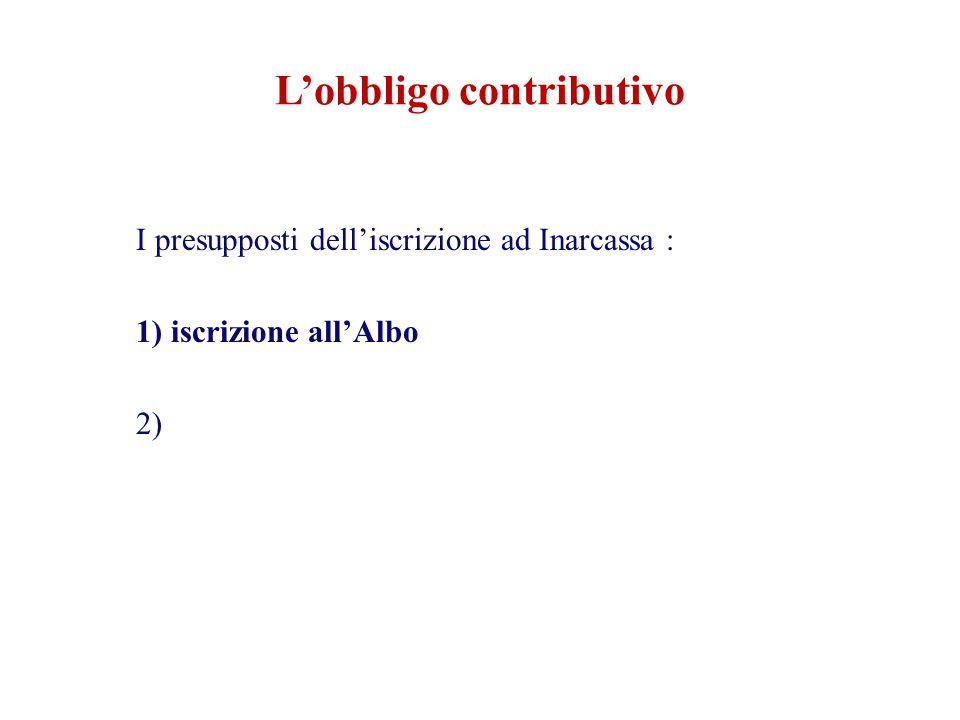 L'obbligo contributivo I presupposti dell'iscrizione ad Inarcassa : 1) iscrizione all'Albo 2) partita Iva 3)