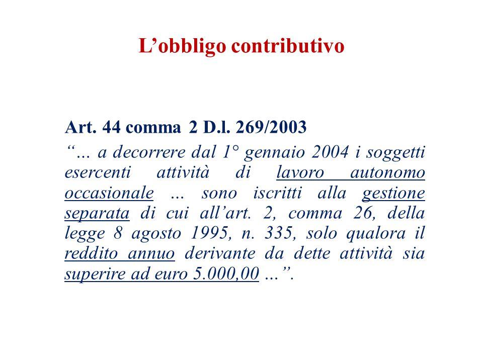 L'obbligo contributivo Art. 44 comma 2 D.l.