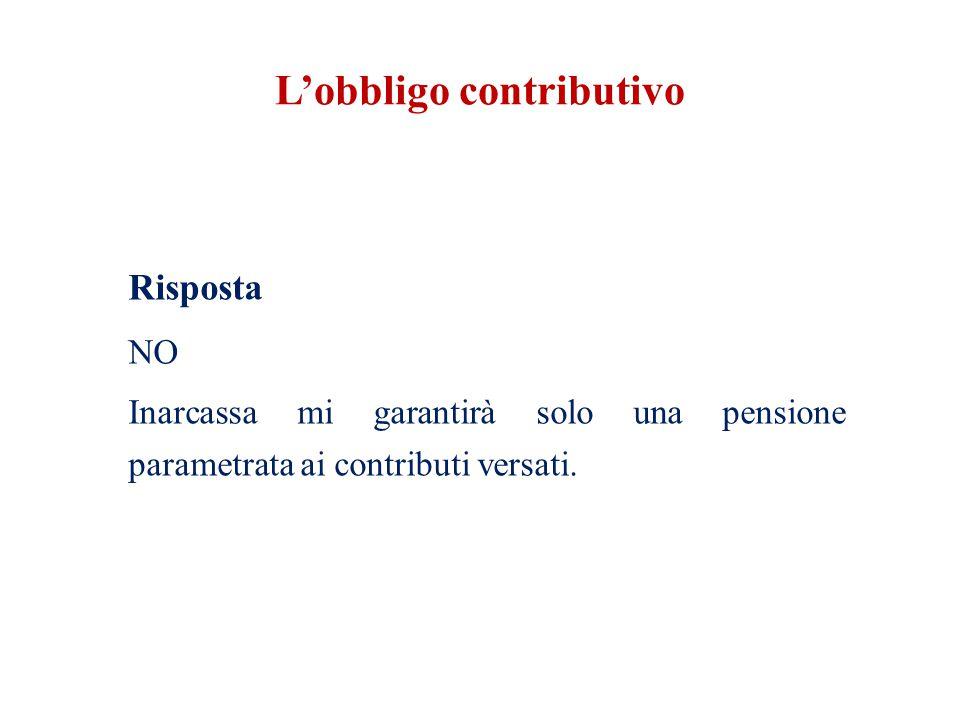 L'obbligo contributivo Risposta NO Inarcassa mi garantirà solo una pensione parametrata ai contributi versati.