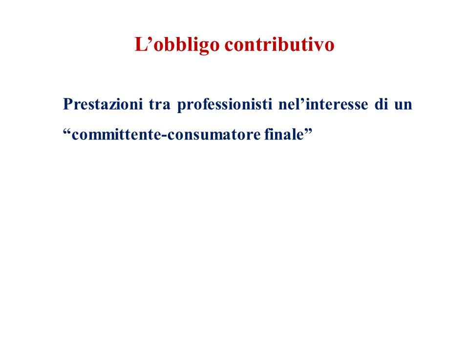L'obbligo contributivo Prestazioni tra professionisti nel'interesse di un committente-consumatore finale