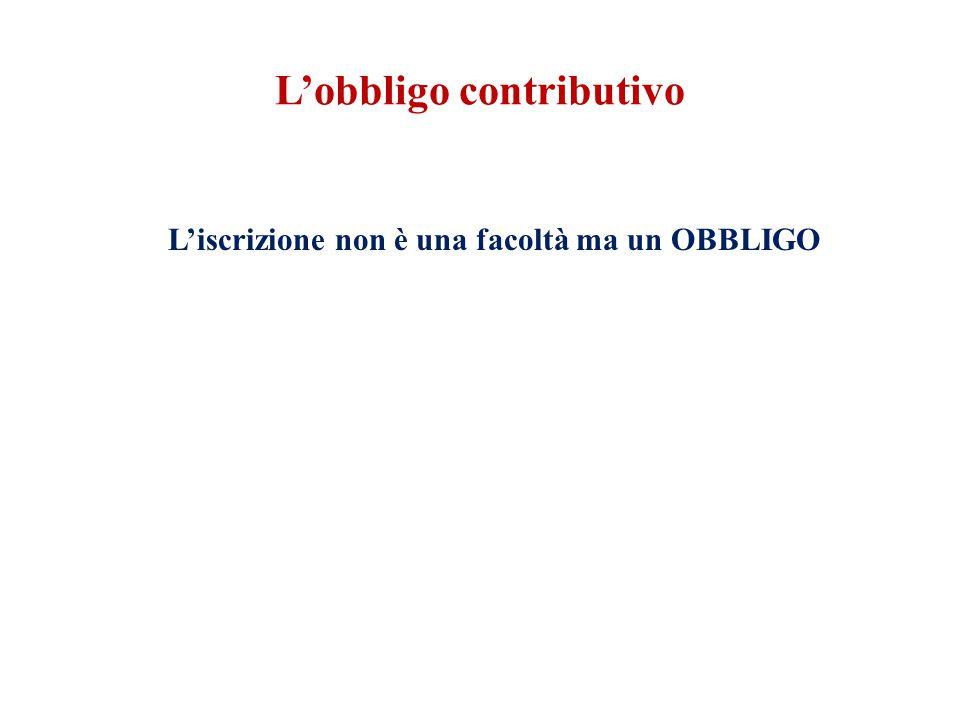L'obbligo contributivo L'iscrizione non è una facoltà ma un OBBLIGO