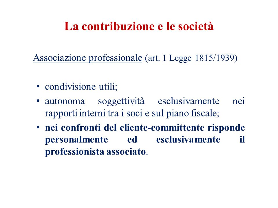 La contribuzione e le società Associazione professionale (art.