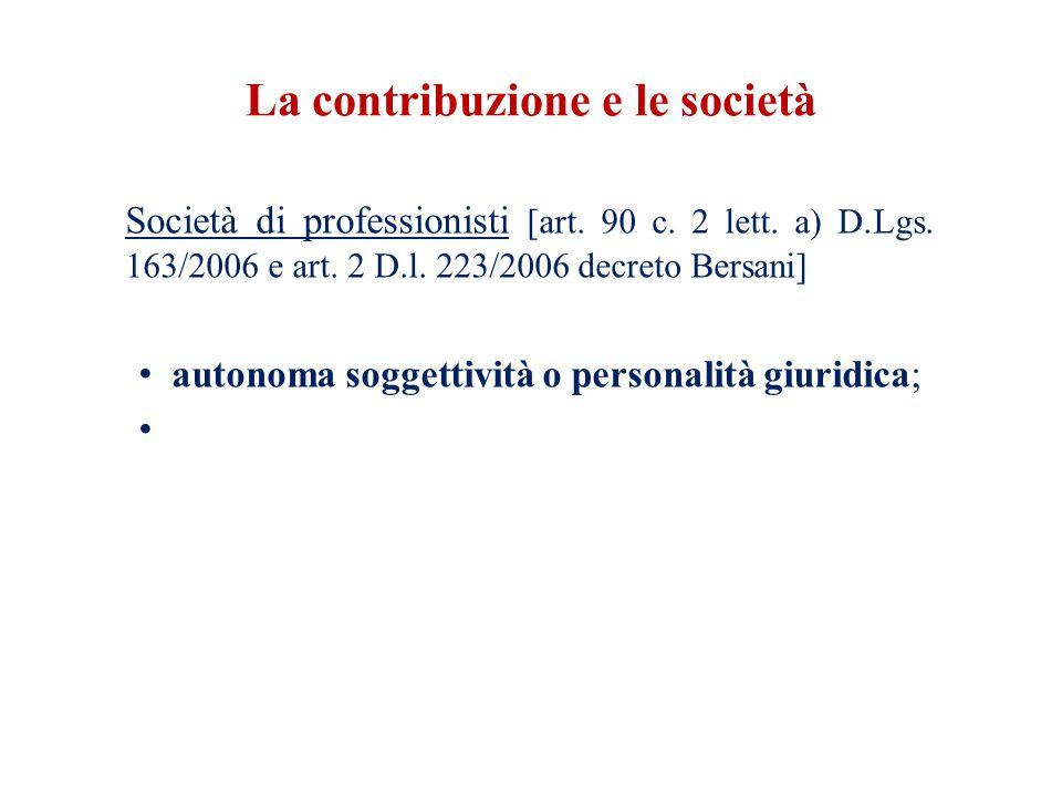 La contribuzione e le società Società di professionisti [art.