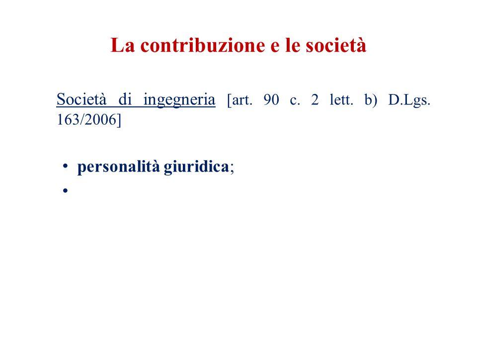 La contribuzione e le società Società di ingegneria [art.