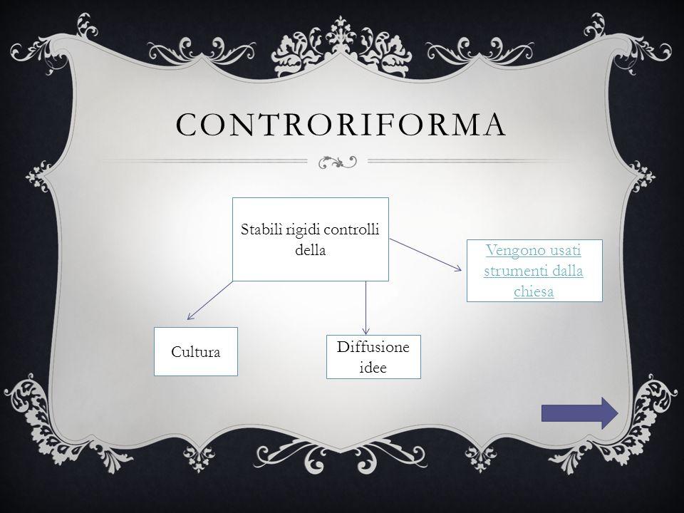 CONTRORIFORMA Stabilì rigidi controlli della Cultura Vengono usati strumenti dalla chiesa Diffusione idee