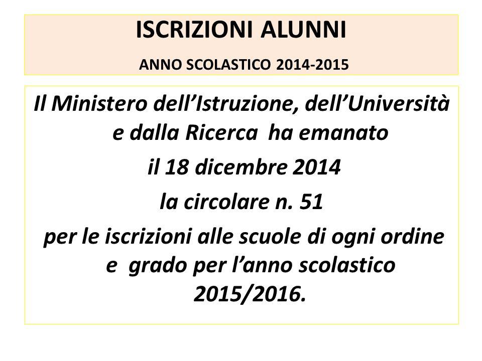 Il Ministero dell'Istruzione, dell'Università e dalla Ricerca ha emanato il 18 dicembre 2014 la circolare n.