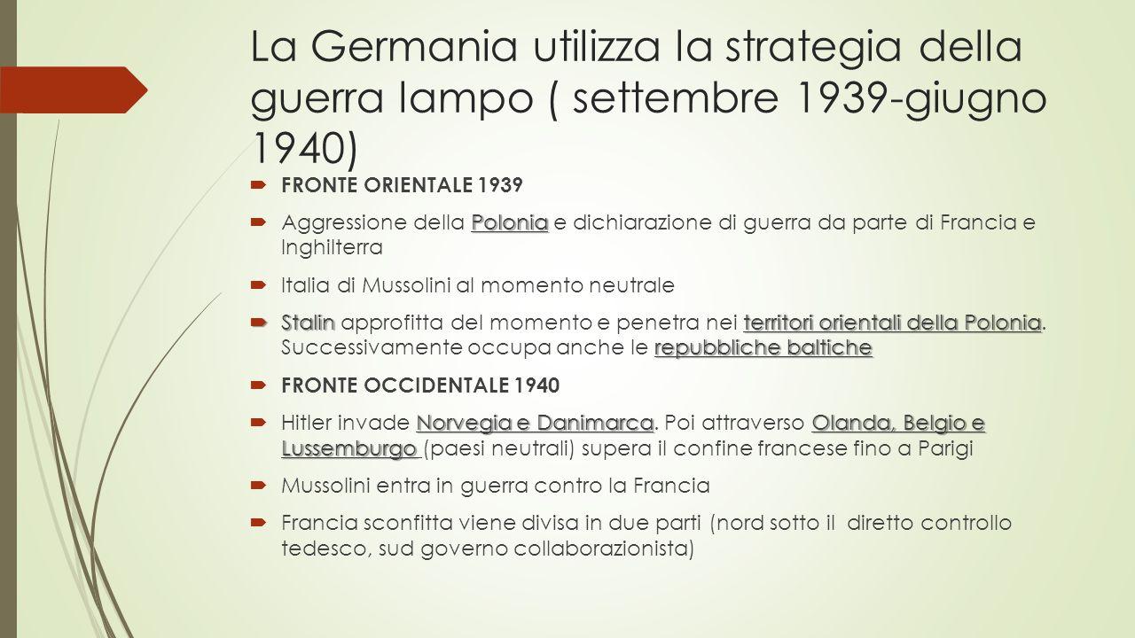 La Germania utilizza la strategia della guerra lampo ( settembre 1939-giugno 1940)  FRONTE ORIENTALE 1939 Polonia  Aggressione della Polonia e dichiarazione di guerra da parte di Francia e Inghilterra  Italia di Mussolini al momento neutrale  Stalinterritori orientali della Polonia repubbliche baltiche  Stalin approfitta del momento e penetra nei territori orientali della Polonia.