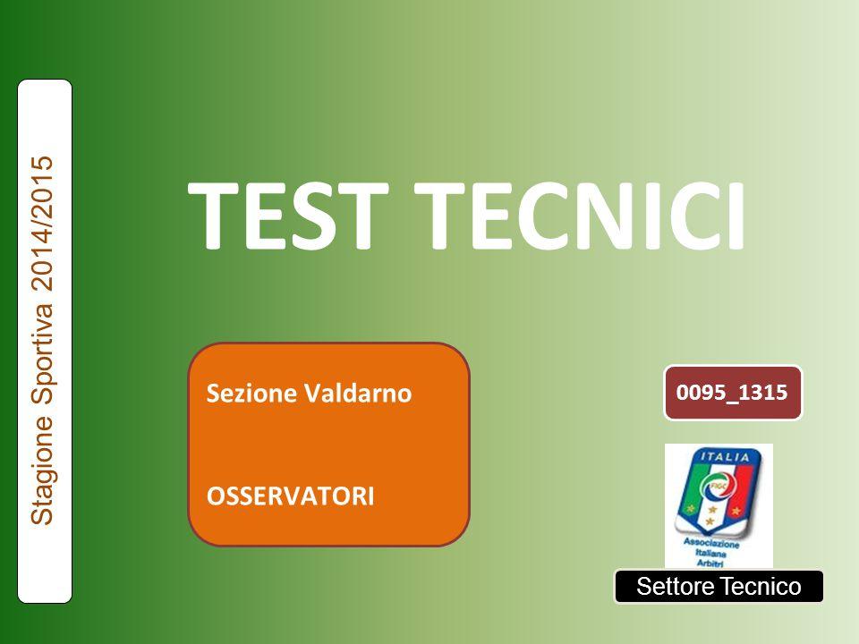 Settore Tecnico TEST INTERATTIVI TECNICI ED ASSOCIATIVI Fra pochi momenti il via per l'esecuzione del test 095_1315 Stagione Sportiva 2013/2014