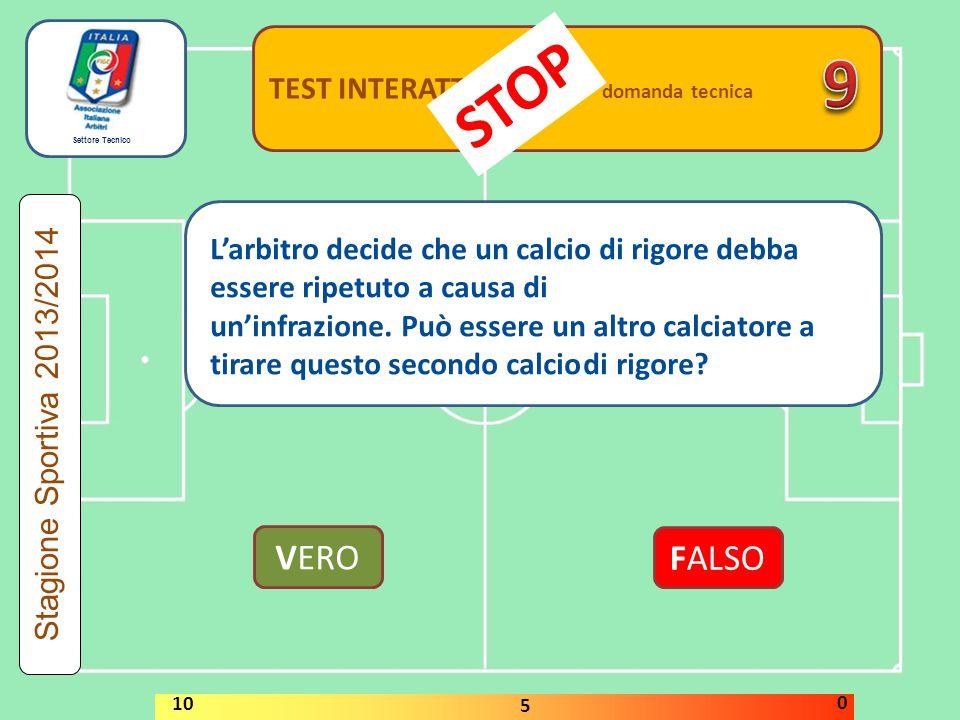 Settore Tecnico TEST INTERATTIVI domanda tecnica VERO FALSO Stagione Sportiva 2013/2014 STOP 10 5 0 L'arbitro decide che un calcio di rigore debba ess