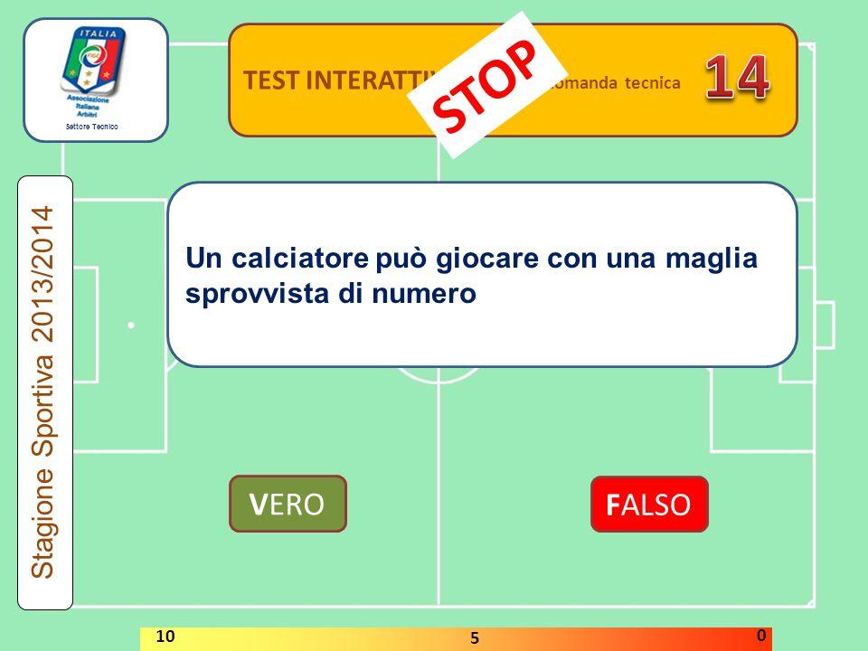 Settore Tecnico TEST INTERATTIVI domanda tecnica Un calciatore può giocare con una maglia sprovvista di numero VERO FALSO Stagione Sportiva 2013/2014