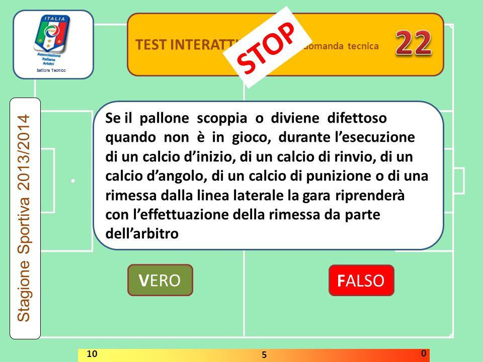Settore Tecnico TEST INTERATTIVI domanda tecnica Se il pallone scoppia o diviene difettoso quando non è in gioco, durante l'esecuzione di un calcio d'