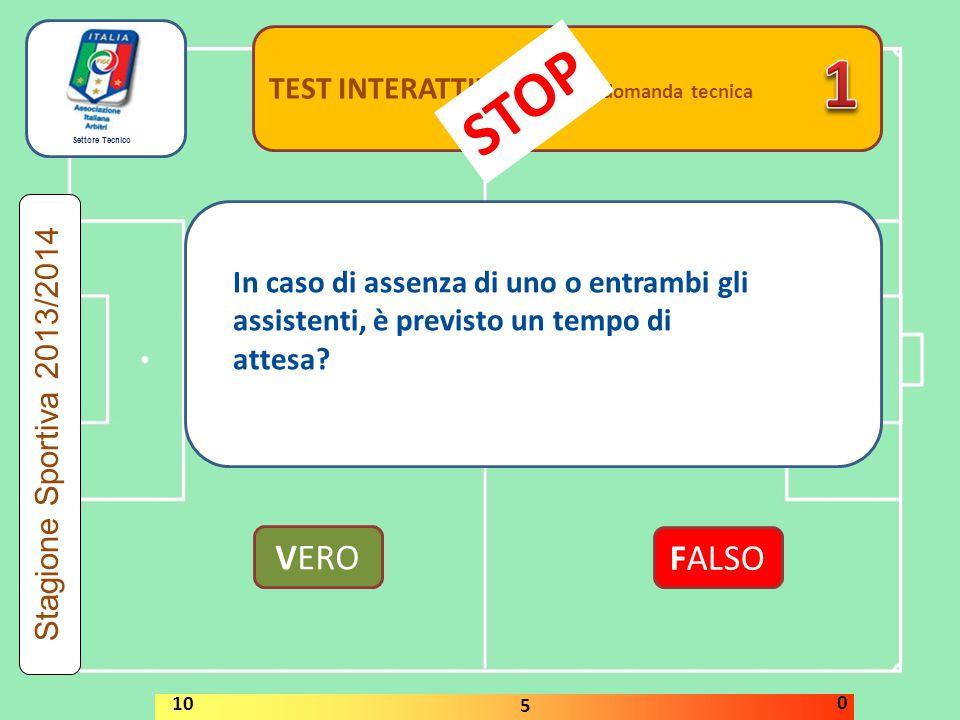 Settore Tecnico TEST INTERATTIVI domanda tecnica VERO FALSO Stagione Sportiva 2013/2014 STOP 10 5 0 In caso di assenza di uno o entrambi gli assistent