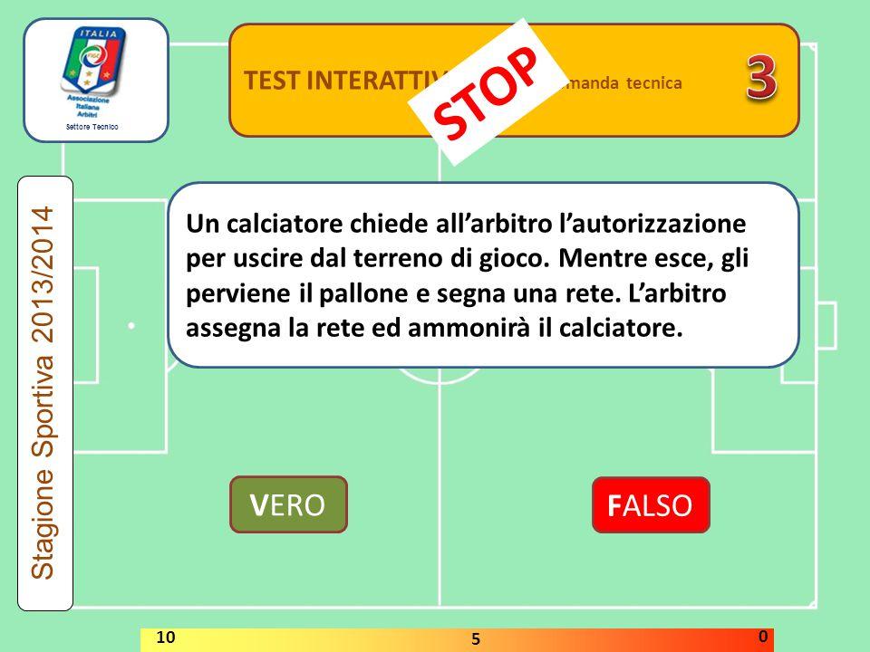 Settore Tecnico TEST INTERATTIVI domanda tecnica Un calciatore chiede all'arbitro l'autorizzazione per uscire dal terreno di gioco. Mentre esce, gli p