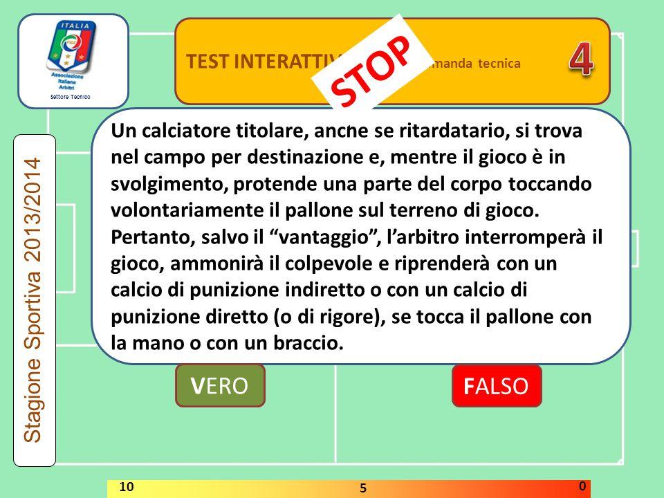 Settore Tecnico TEST INTERATTIVI domanda associativa A fine stagione la media di 8,20 comporta il NON RINNOVO TESSERA VERO FALSO Stagione Sportiva 2013/2014 STOP 10 5 0