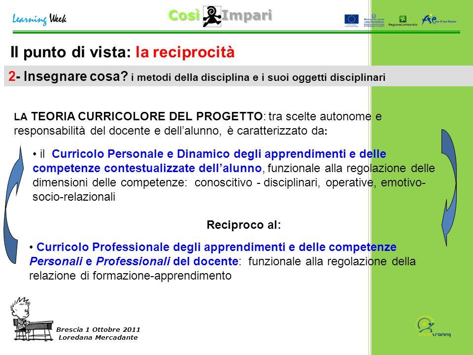 Così Impari Brescia 1 Ottobre 2011 Loredana Mercadante Il punto di vista: la reciprocità 2- Insegnare cosa? i metodi della disciplina e i suoi oggetti