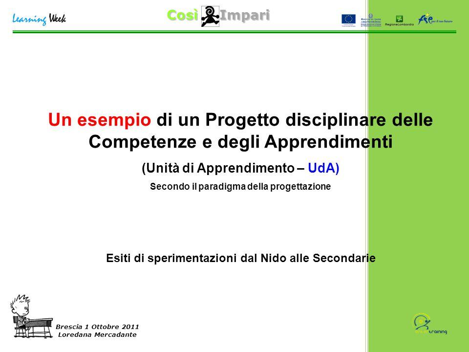 Così Impari Brescia 1 Ottobre 2011 Loredana Mercadante Un esempio di un Progetto disciplinare delle Competenze e degli Apprendimenti (Unità di Apprend