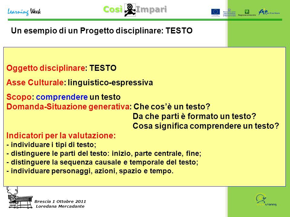 Così Impari Brescia 1 Ottobre 2011 Loredana Mercadante Oggetto disciplinare: TESTO Asse Culturale: linguistico-espressiva Scopo: comprendere un testo