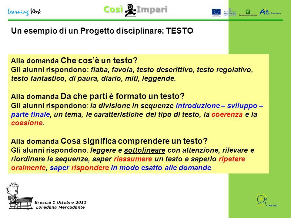 Così Impari Brescia 1 Ottobre 2011 Loredana Mercadante Alla domanda Che cos'è un testo? Gli alunni rispondono: fiaba, favola, testo descrittivo, testo