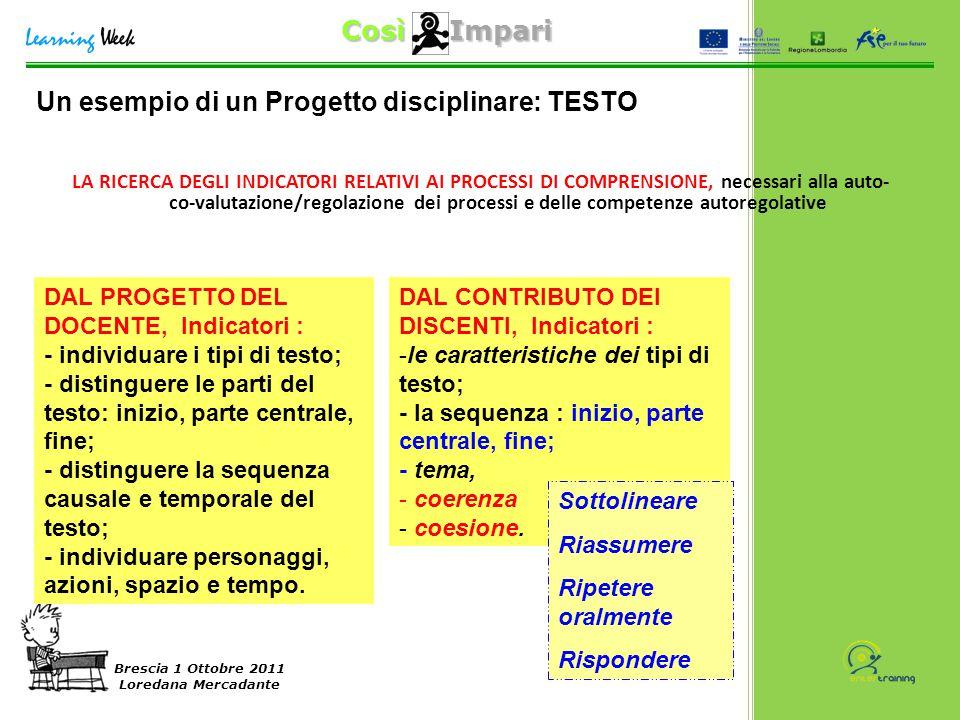 Così Impari Brescia 1 Ottobre 2011 Loredana Mercadante LA RICERCA DEGLI INDICATORI RELATIVI AI PROCESSI DI COMPRENSIONE, necessari alla auto- co-valut
