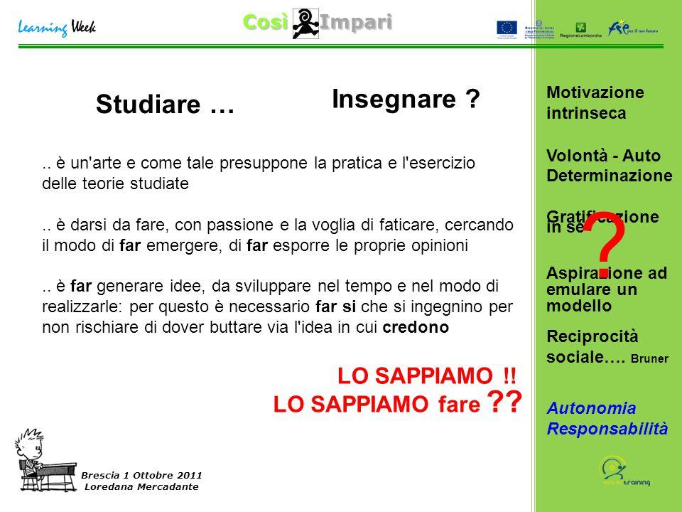 Così Impari Brescia 1 Ottobre 2011 Loredana Mercadante Studiare ….. è un'arte e come tale presuppone la pratica e l'esercizio delle teorie studiate..