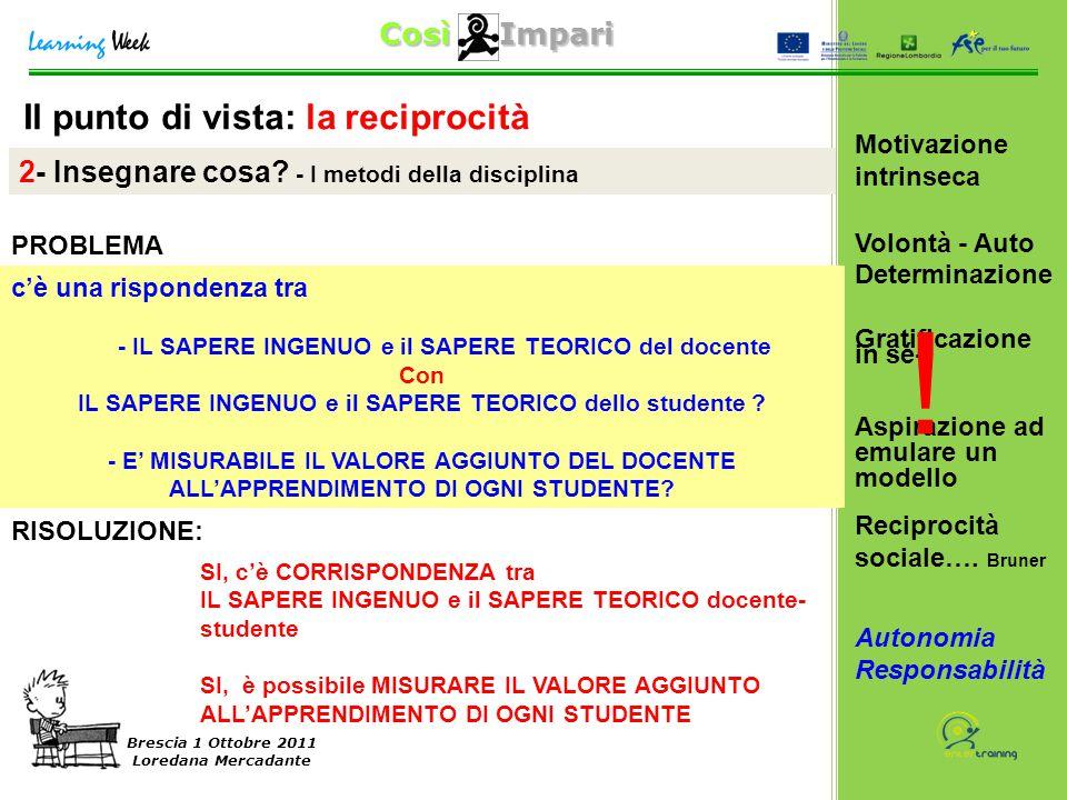 Così Impari Brescia 1 Ottobre 2011 Loredana Mercadante Il punto di vista: la reciprocità 2- Insegnare cosa? - I metodi della disciplina c'è una rispon
