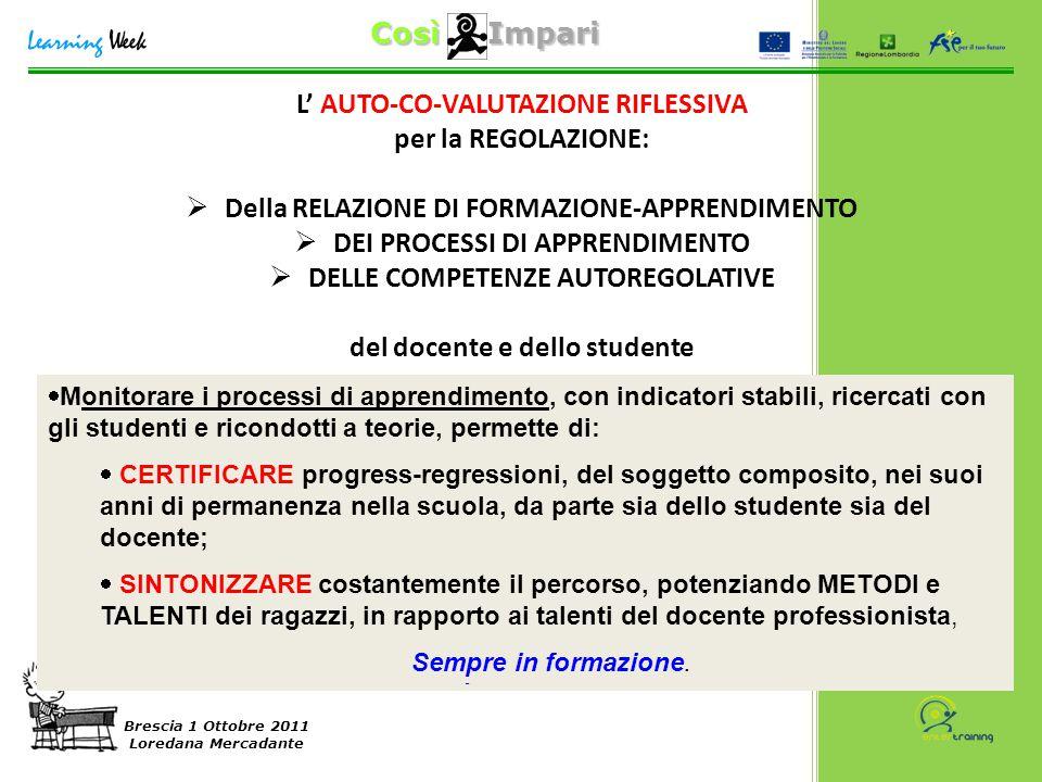 Così Impari Brescia 1 Ottobre 2011 Loredana Mercadante L' AUTO-CO-VALUTAZIONE RIFLESSIVA per la REGOLAZIONE:  Della RELAZIONE DI FORMAZIONE-APPRENDIM