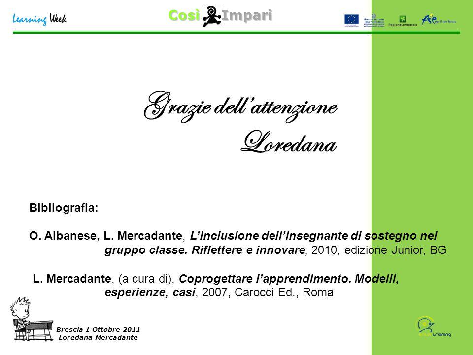 Così Impari Brescia 1 Ottobre 2011 Loredana Mercadante Grazie dell'attenzione Loredana Bibliografia: O. Albanese, L. Mercadante, L'inclusione dell'ins